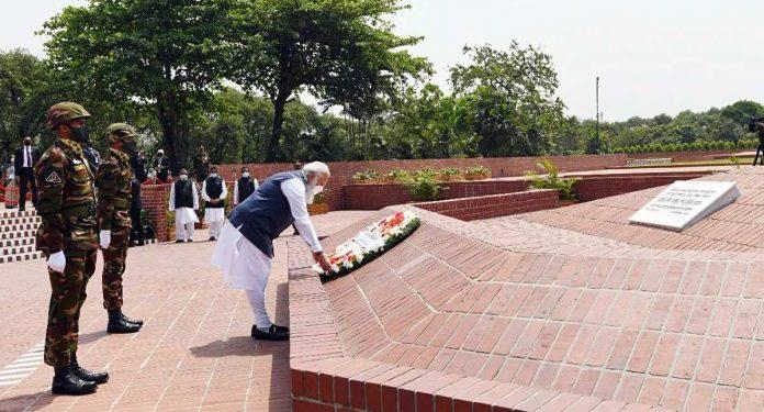 PM Narendra Modi visits mausoleum of Sheikh Mujibur Rahman, pays floral tributes