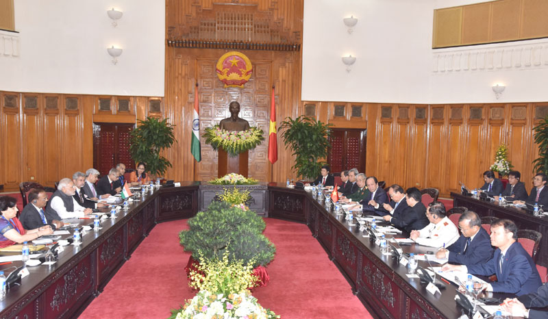 PM Modi holds delegation level talks with his Vietnamese counterpart Nguyen Xuan Phuc today