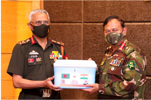 Army Chief General Naravane hands over 1 lac doses of Covid-19 vaccine to his Bangladeshi counterpart