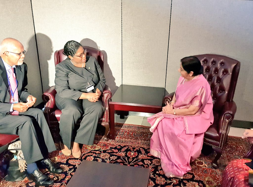 EAM Sushma Swaraj holds bilateral talks with leaders from Fiji, Estonia and Suriname