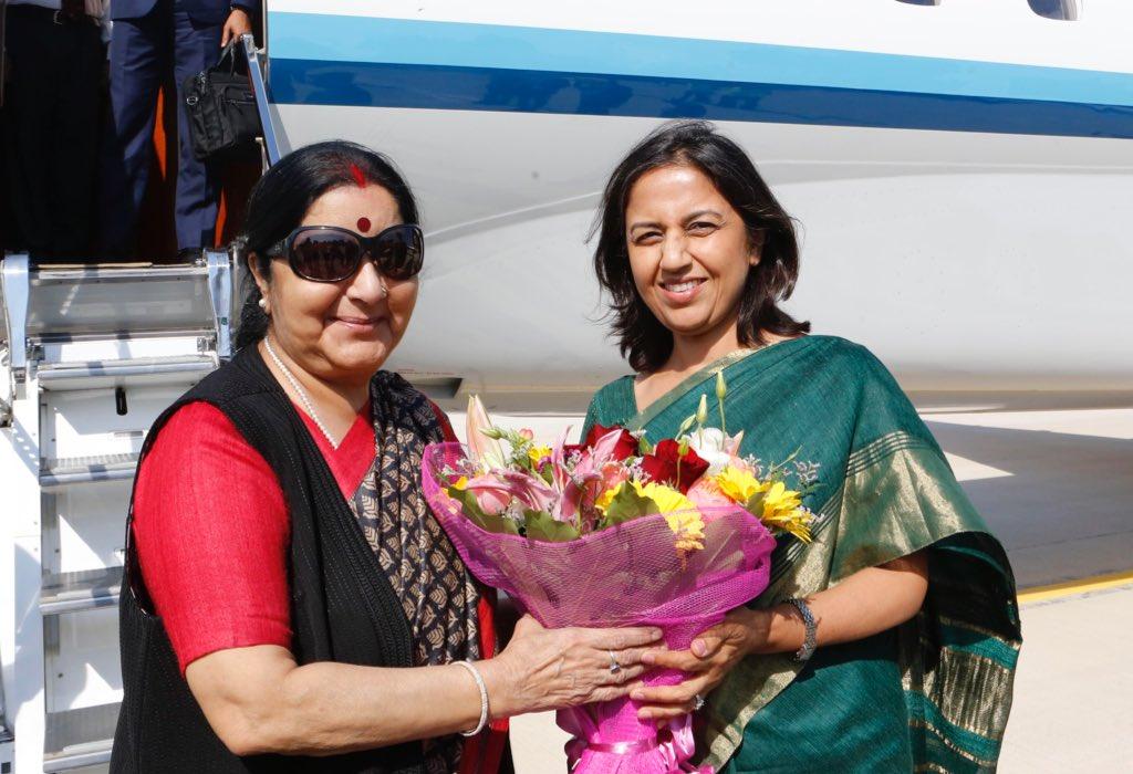 EAM Sushma Swaraj reaches Rome as part of four European nations tour