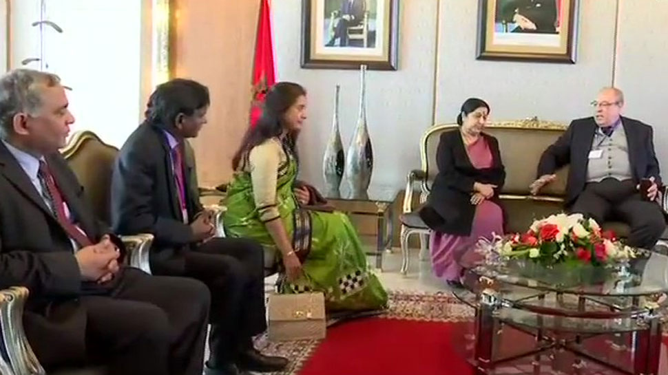 EAM Sushma Swaraj arrives in Morocco to hold discussions with leaders